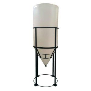 Plastic conical fermentation tank with wheels